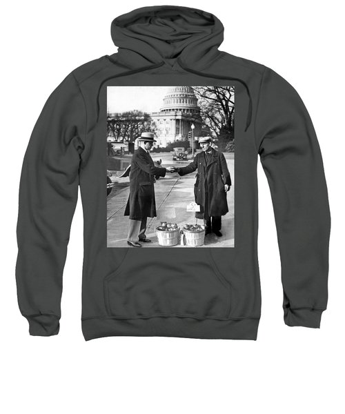 Unemployed Man Sells Apples Sweatshirt by Underwood Archives