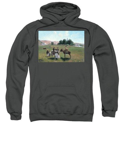 Donkey Ride Sweatshirt by Camille Pissarro