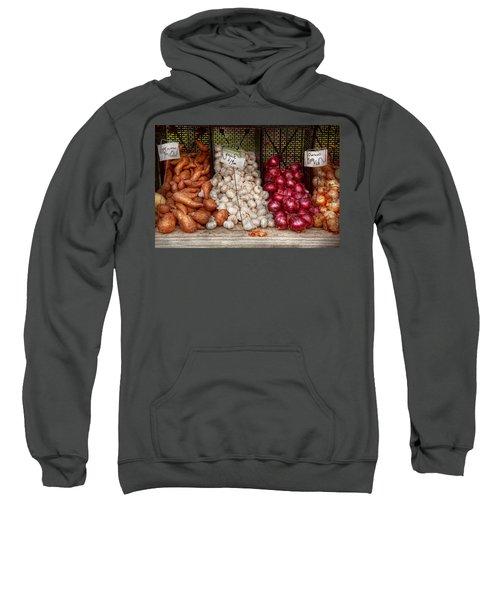 Food - Vegetable - Sweet Potatoes-garlic- And Onions - Yum  Sweatshirt by Mike Savad