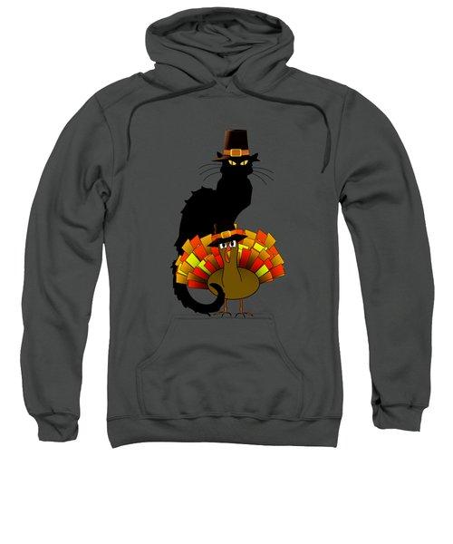 Thanksgiving Le Chat Noir With Turkey Pilgrim Sweatshirt by Gravityx9  Designs