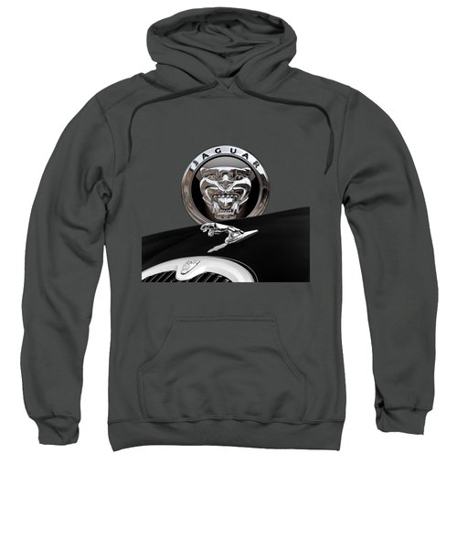Black Jaguar - Hood Ornaments And 3 D Badge On Red Sweatshirt by Serge Averbukh