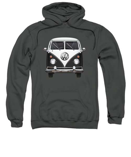 Volkswagen Type 2 - Black And White Volkswagen T 1 Samba Bus On Red  Sweatshirt by Serge Averbukh