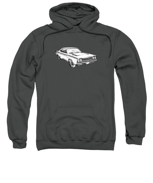 1968 Plymouth Roadrunner Muscle Car Illustration Sweatshirt by Keith Webber Jr