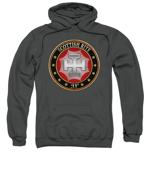 31st Degree - Inspector Inquisitor Jewel On Red Leather Sweatshirt by Serge Averbukh