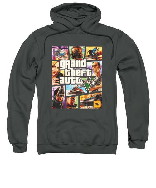 Gta V Box Art Cover Colored Drawing Sweatshirt by Nikolai Jonasson