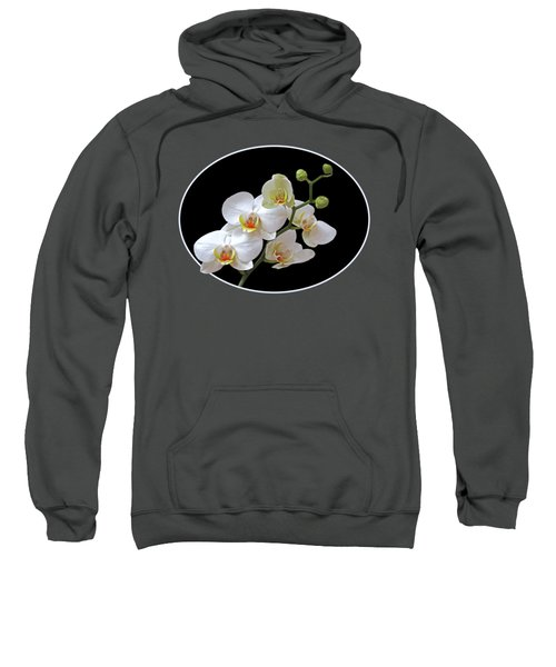 Orchids On Black And Red Sweatshirt by Gill Billington