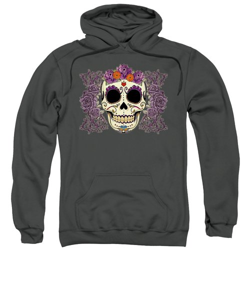 Vintage Sugar Skull And Roses Sweatshirt by Tammy Wetzel
