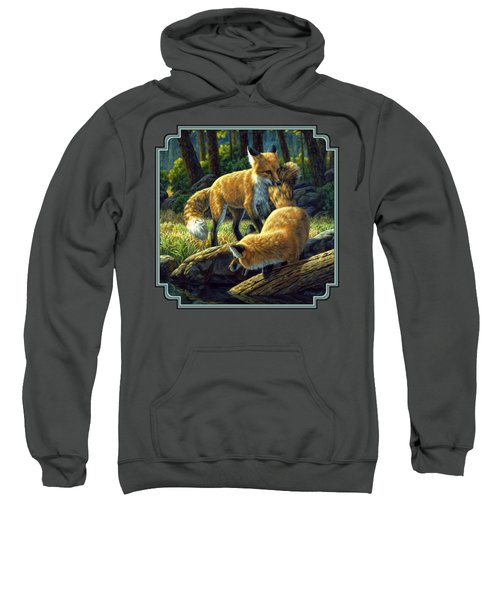 Red Foxes - Sibling Rivalry Sweatshirt by Crista Forest