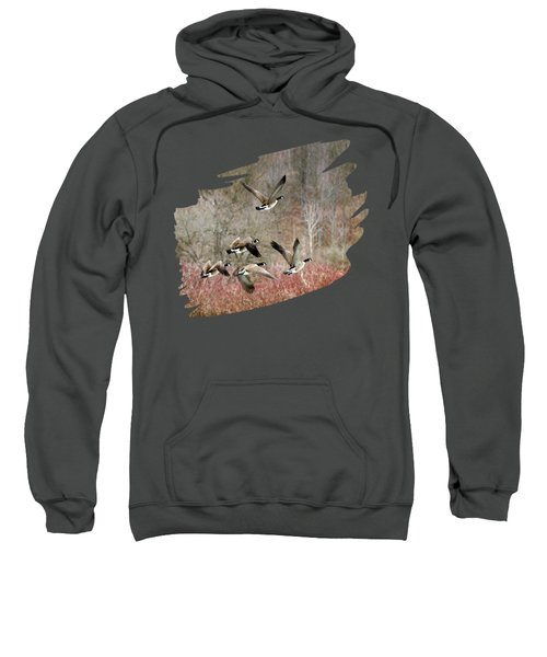 Canada Geese In Flight Sweatshirt by Christina Rollo