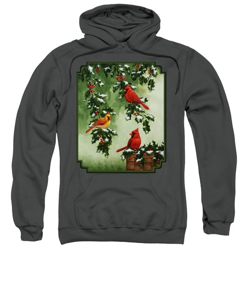 Cardinals And Holly - Version With Snow Sweatshirt by Crista Forest