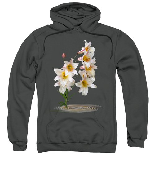 Cascade Of Lilies On Black Sweatshirt by Gill Billington