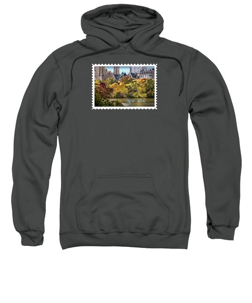 Central Park Lake In Fall Text New York Sweatshirt by Elaine Plesser