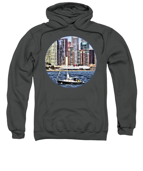 Chicago Il - Sailing On Lake Michigan Sweatshirt by Susan Savad