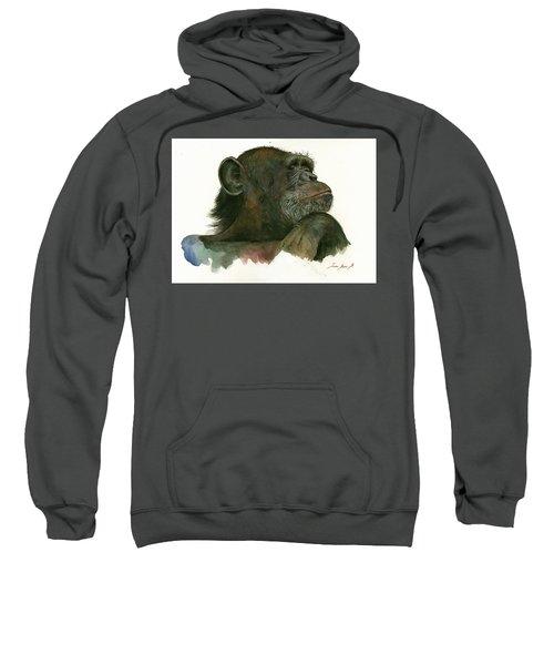 Chimp Portrait Sweatshirt by Juan Bosco