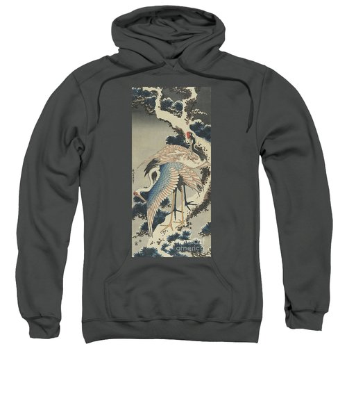 Cranes On Pine Sweatshirt by Hokusai