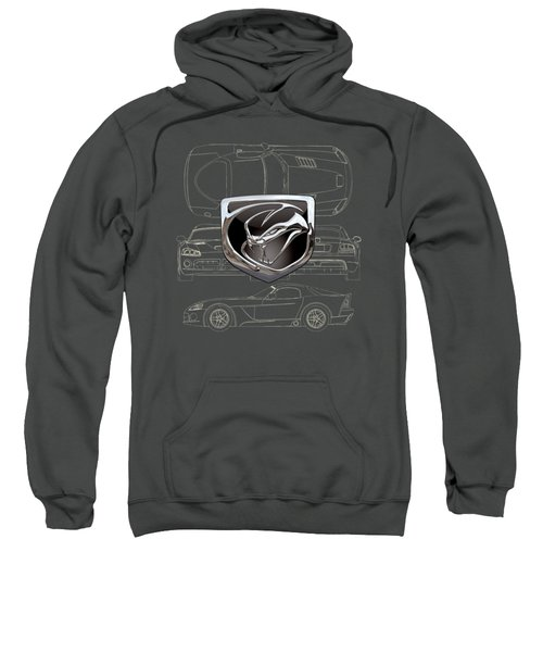 Dodge Viper  3 D  Badge Over Dodge Viper S R T 10 Blueprint  Sweatshirt by Serge Averbukh