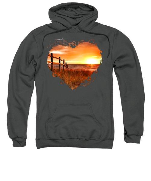Door County Europe Bay Fence Sunrise Sweatshirt by Christopher Arndt