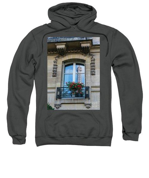 Eiffel Tower Paris Apartment Reflection Sweatshirt by Mike Reid
