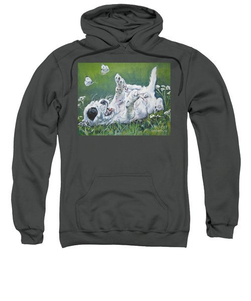 English Setter Puppy And Butterflies Sweatshirt by Lee Ann Shepard