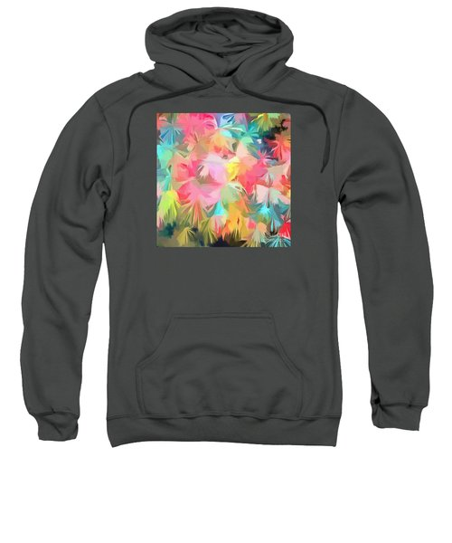 Fireworks Floral Abstract Square Sweatshirt by Edward Fielding