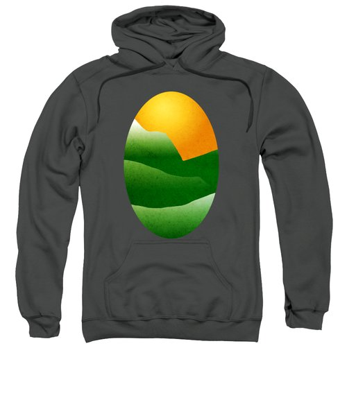 Green Mountain Sunrise Landscape Art Sweatshirt by Christina Rollo