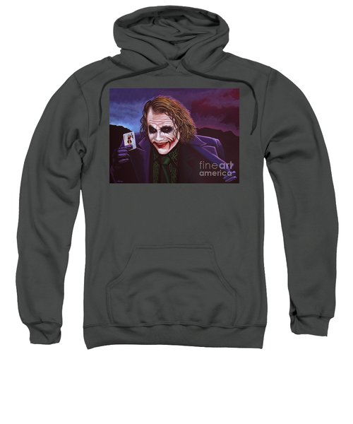 Heath Ledger As The Joker Painting Sweatshirt by Paul Meijering
