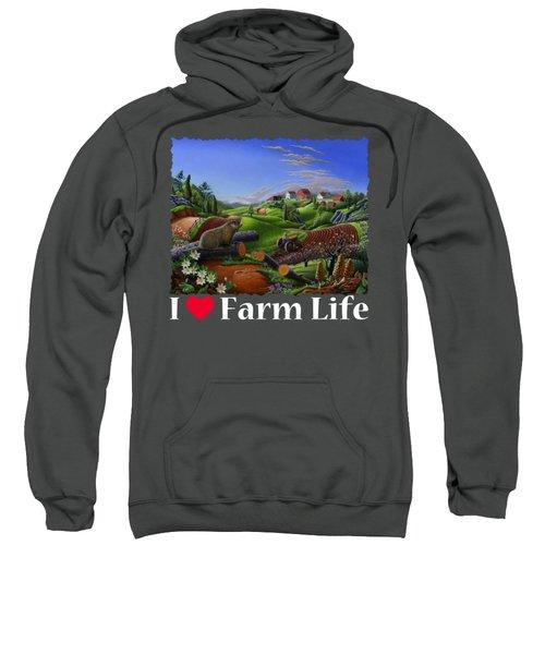 I Love Farm Life T Shirt - Spring Groundhog - Country Farm Landscape 2 Sweatshirt by Walt Curlee