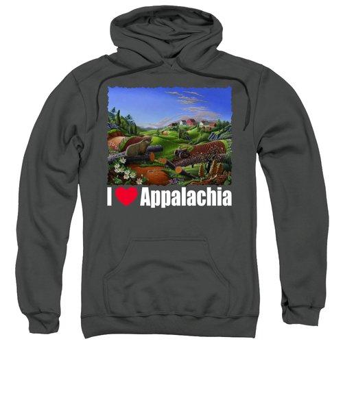I Love Appalachia T Shirt - Spring Groundhog - Country Farm Landscape Sweatshirt by Walt Curlee