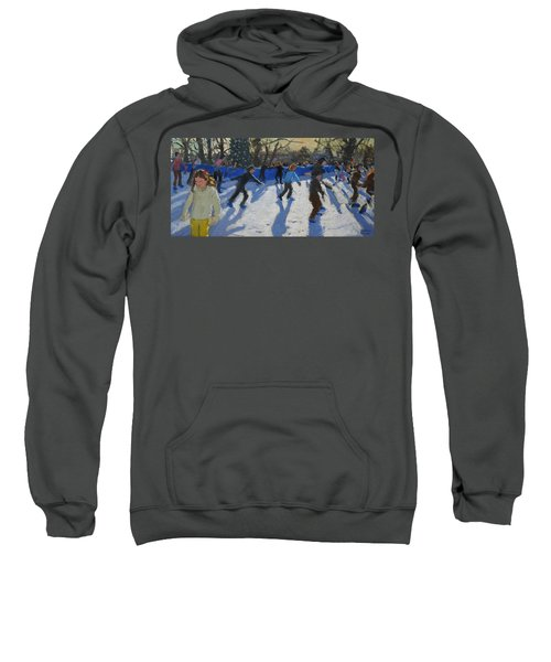 Ice Skaters At Christmas Fayre In Hyde Park  London Sweatshirt by Andrew Macara
