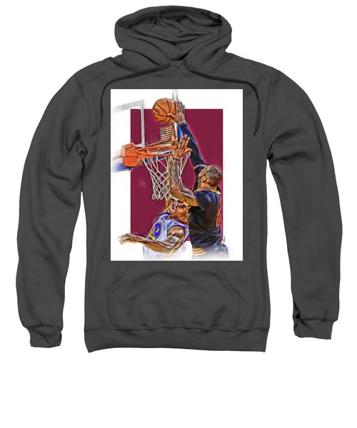 Lebron James Cleveland Cavaliers Oil Art Sweatshirt by Joe Hamilton