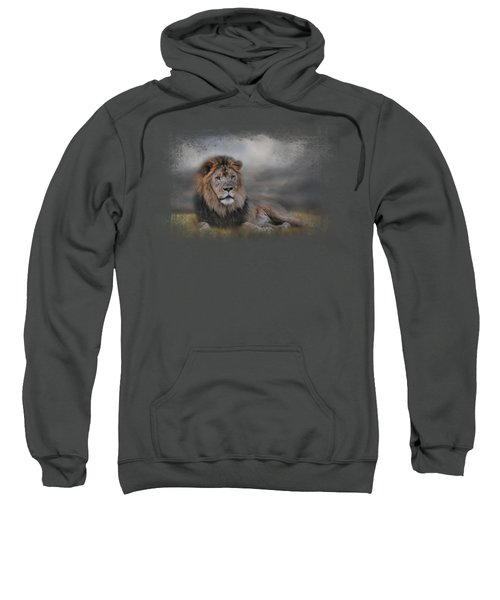 Lion Waiting For The Storm Sweatshirt by Jai Johnson