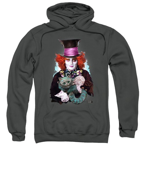 Mad Hatter And Cheshire Cat Sweatshirt by Melanie D
