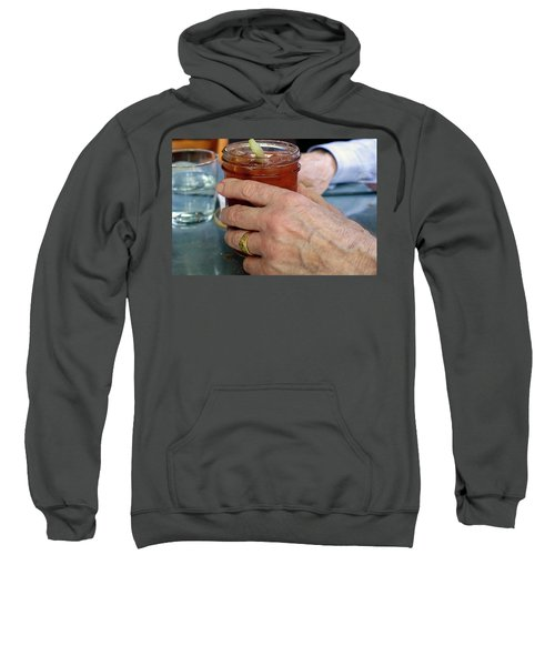 Mans Hand Holding Bloody Mary  Sweatshirt by Beth Wolff