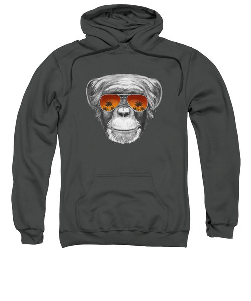 Monkey With Mirror Sunglasses Sweatshirt by Marco Sousa