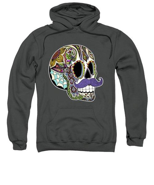Mustache Sugar Skull Sweatshirt by Tammy Wetzel