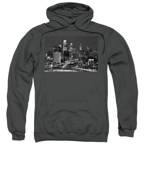 Philadelphia Skyline At Night Black And White Bw  Sweatshirt by Jon Holiday