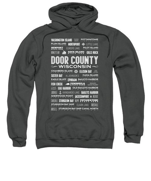 Places Of Door County On Gray Sweatshirt by Christopher Arndt