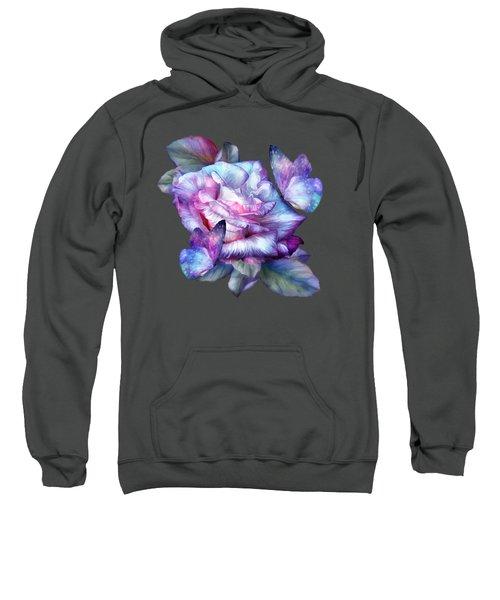 Purple Rose And Butterflies Sweatshirt by Carol Cavalaris