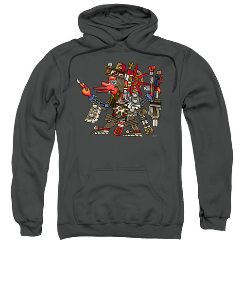 Quetzalcoatl In Human Warrior Form - Codex Borgia Sweatshirt by Serge Averbukh