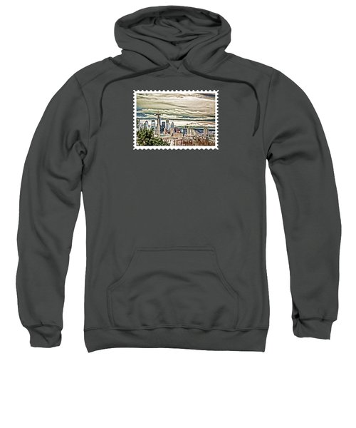 Seattle Skyline In Fog And Rain Sweatshirt by Elaine Plesser