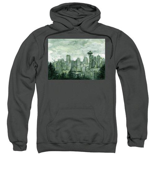 Seattle Skyline Watercolor Space Needle Sweatshirt by Olga Shvartsur