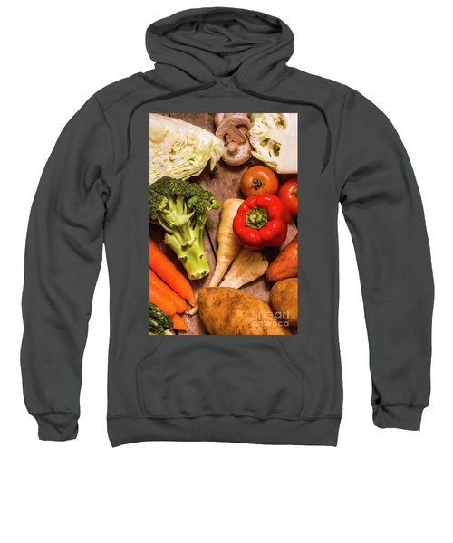 Selection Of Fresh Vegetables On A Rustic Table Sweatshirt by Jorgo Photography - Wall Art Gallery