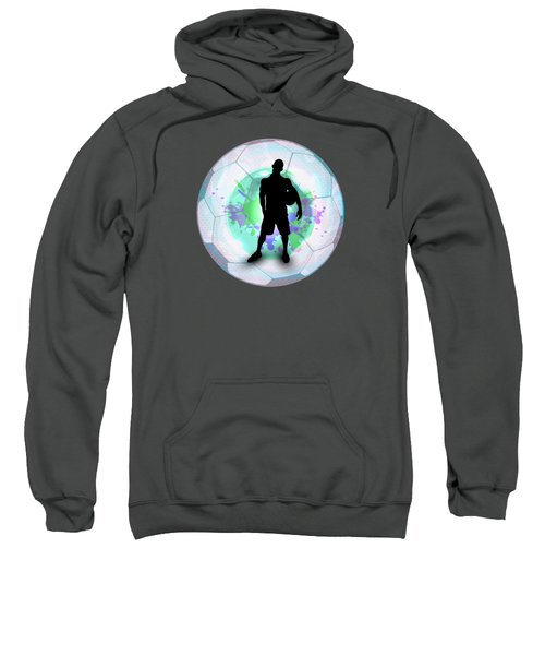 Soccer Player Posing With Ball Soccer Background Sweatshirt by Elaine Plesser