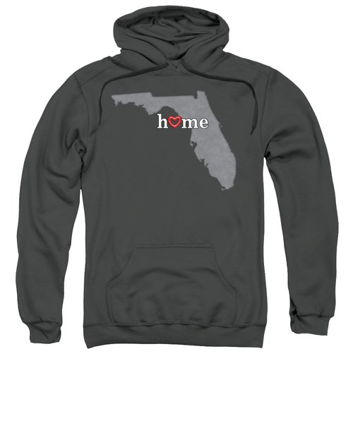 State Map Outline Florida With Heart In Home Sweatshirt by Elaine Plesser