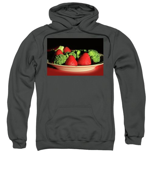 Strawberries And Broccoli Sweatshirt by Lori Deiter