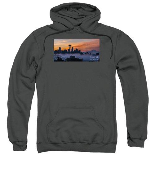 Sunrise Seattle Skyline Above The Fog Sweatshirt by Mike Reid