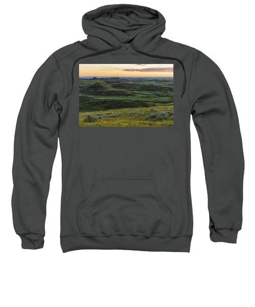 Sunset Over Killdeer Badlands Sweatshirt by Robert Postma
