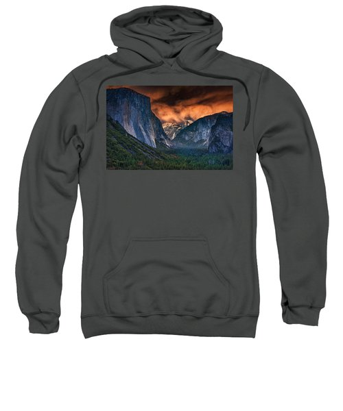 Sunset Skies Over Yosemite Valley Sweatshirt by Rick Berk