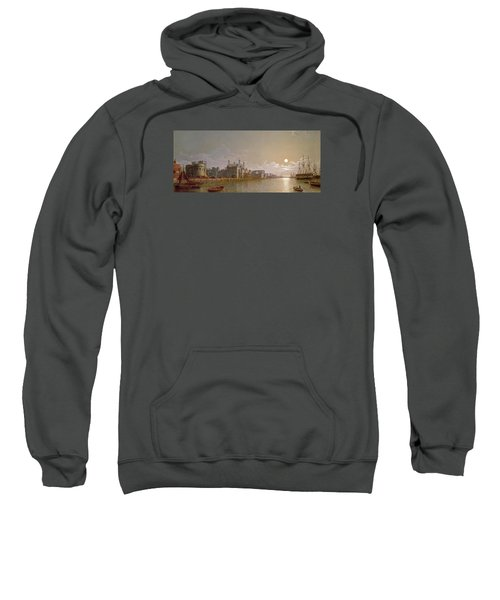 The Thames By Moonlight With Traitors' Gate And The Tower Of London Sweatshirt by Henry Pether