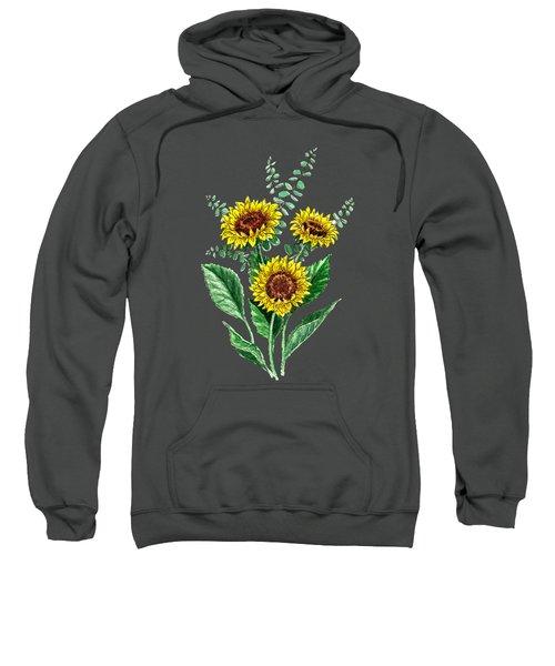 Three Playful Sunflowers Sweatshirt by Irina Sztukowski